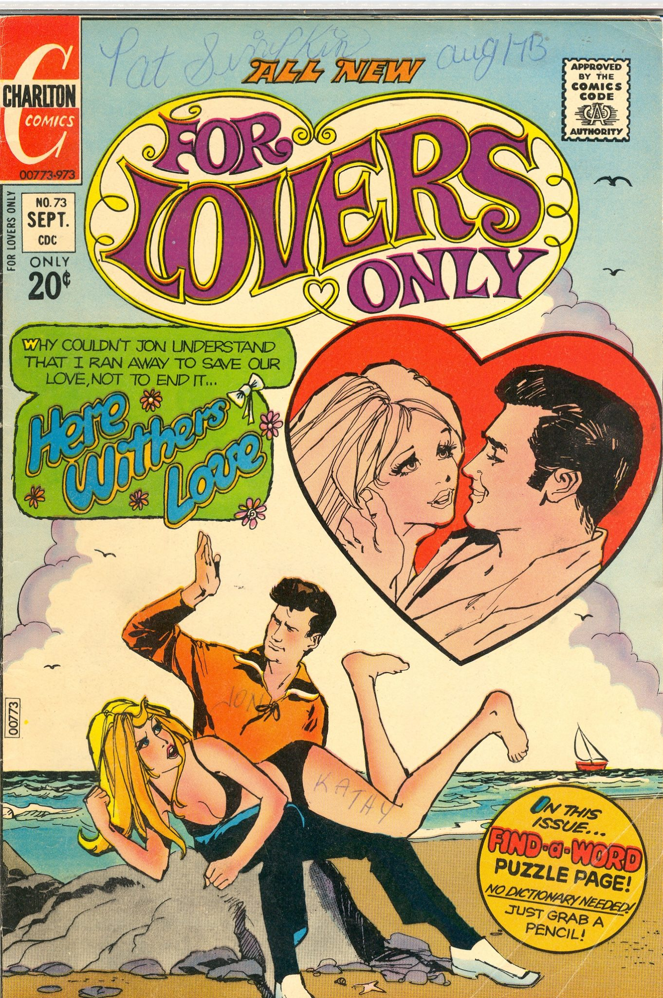 "Crazy Comic Cover: For Lovers Only #73  ""Here Withers Love"""