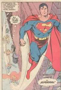 Note that Superman is not wearing his suit under his regular clothing. That means at one point he must have stripped naked in the street.