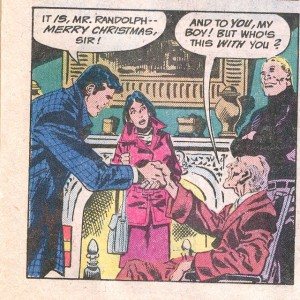 Look at Huntress' expression on her face and then look at the old man's lap.