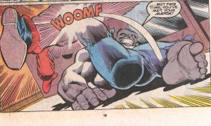 That is not a sound effect you want to hear when kicked in the crotch