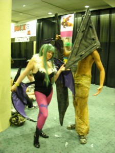 Morrigan Aensland and Pyramid Head