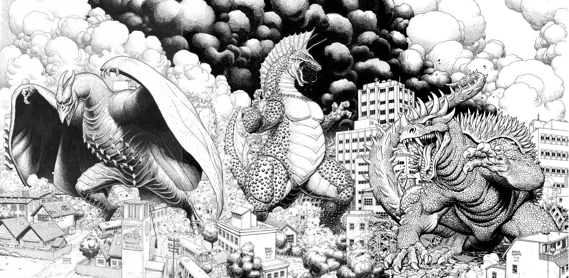 Adams Godzilla Triptych