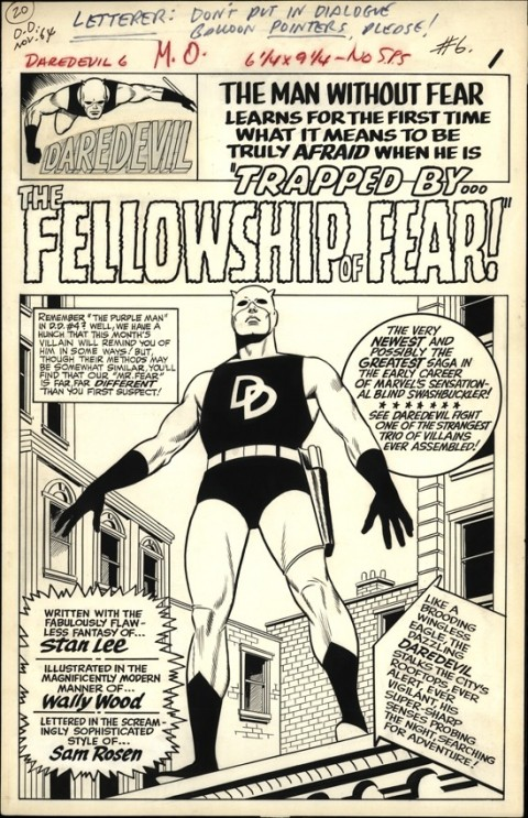Daredevil 6 splash by Wally Wood