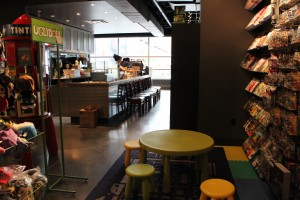 Kid's section, and coffee lounge