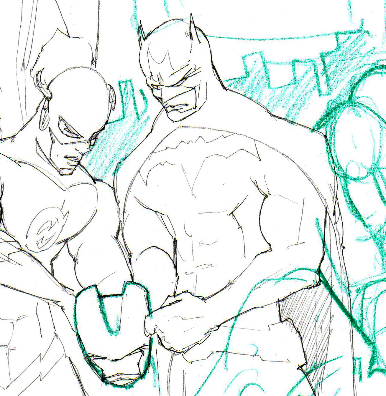 Justice League Cover Sketch progress