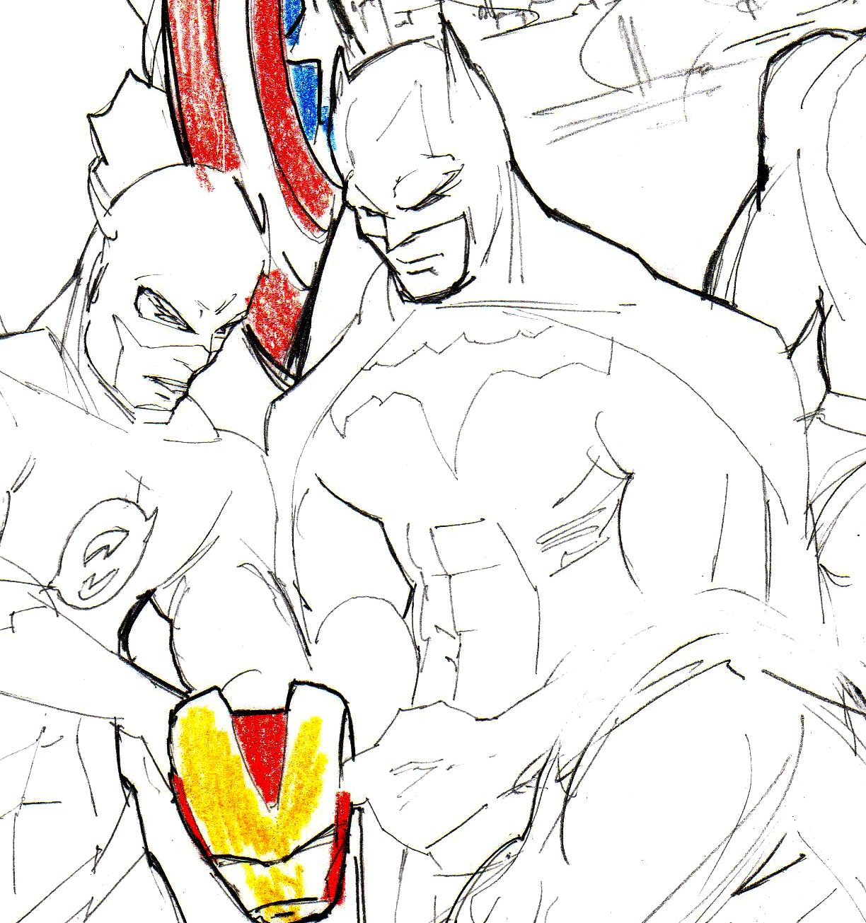Justice League Cover Sketch Progress #2