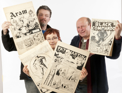 Walt, Alene, and Ivan with Aram Alexanain original art.