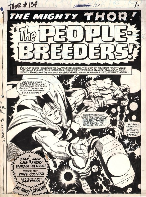 Thor issue 134 page 1 by Jack Kirby and Vince Colletta