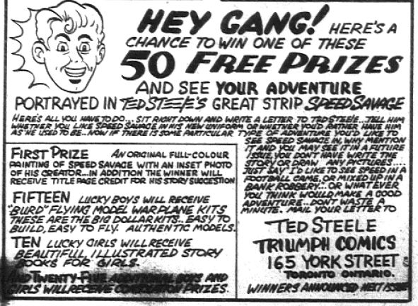 "Triumph Comics 15 - ""Speed Savage"" Contest Announcement"