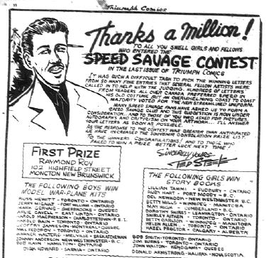 Triumph Comics 16 - Contest Winners Announced