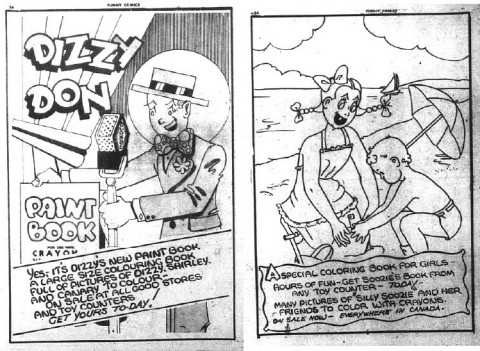 Ads for colouring books from The Funny Comics 15 and 17 respectively.