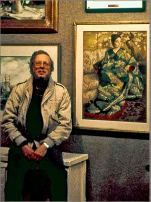 Gerald Lazare next to one of his pieces probably early eighties.