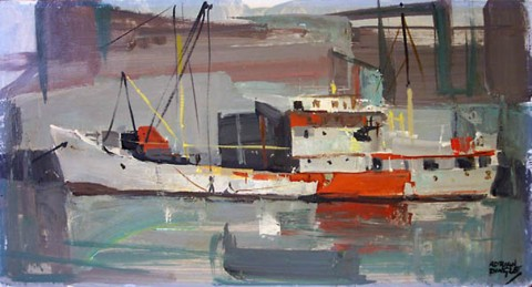 Red and Gray, Gloucester Harbour c. 1965 by Dingle