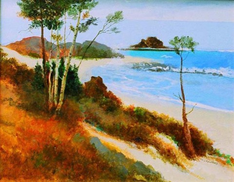 Carolina Beach, Watercolour by Mel Crawford