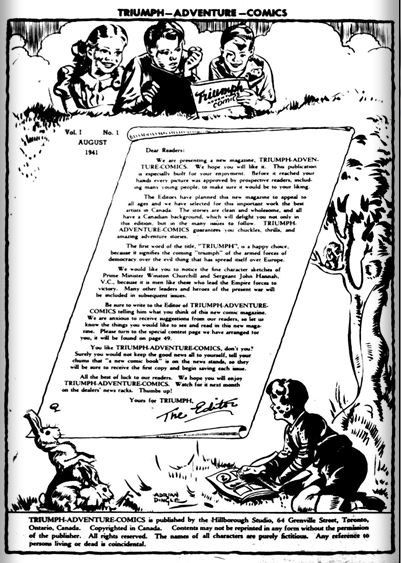 Triumph Comics No. 1 inside front cover