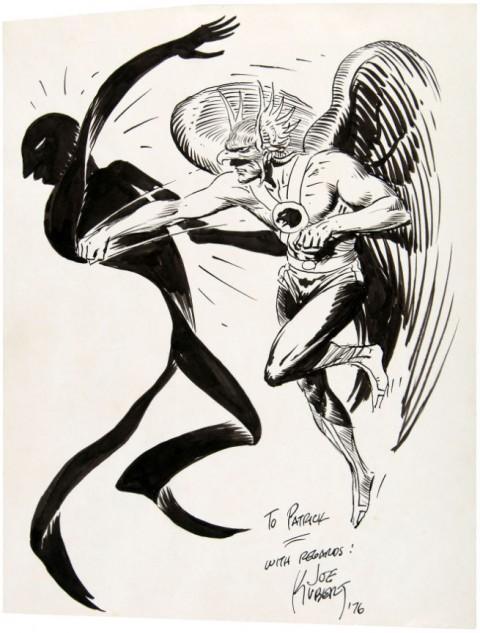 Hawkman Punching Shadow Thief by Joe Kubert