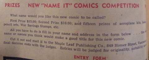 "Contest from the only issue of ""Name-It"" Comics"