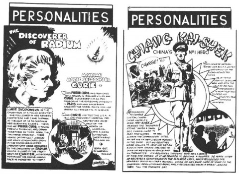 "Two Crawford ""bio"" pages from Dime Comics No. 6 and 7"