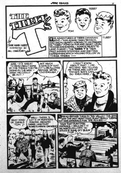 Three T's Splash from Joke Comics No. 1