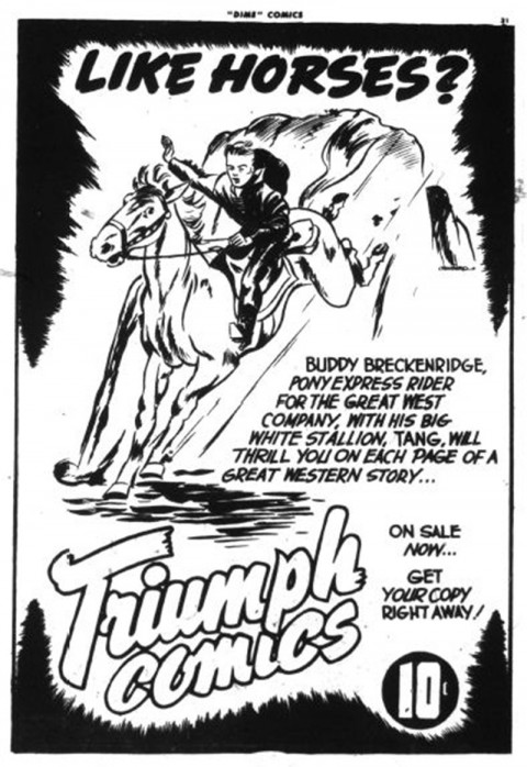 Ad for Triumph Comics using Tang