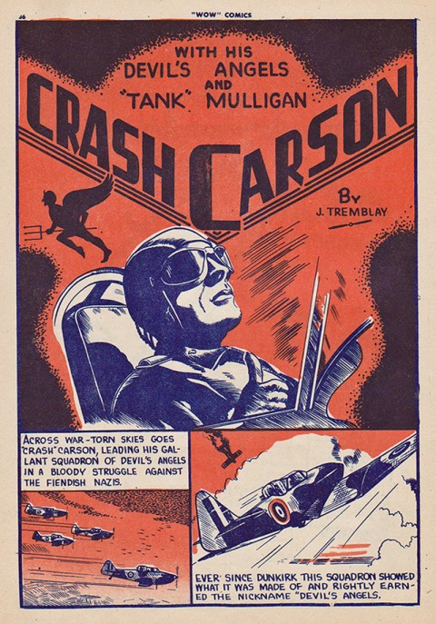 The first Crash Carson splash page from Wow Comics No. 8 but done by Edmond Good