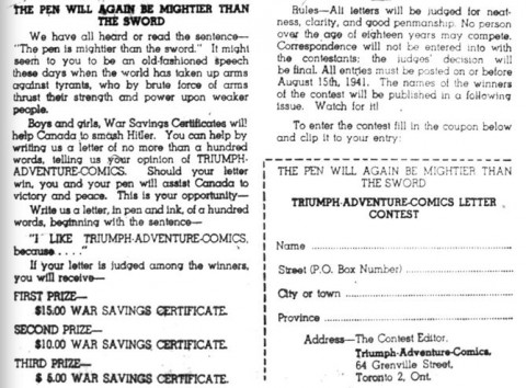Contest from Triumph-Adventure Comics No. 1