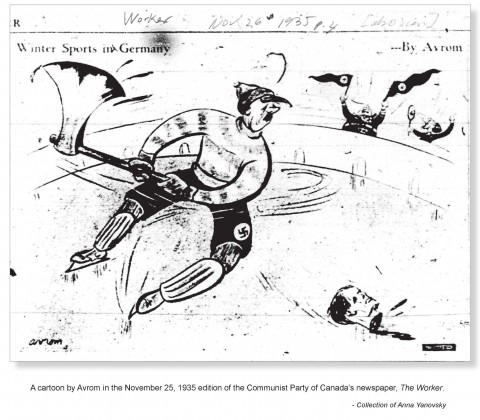 A gruesome piece promoting a boycott of the 1936 Olympics in Berlin