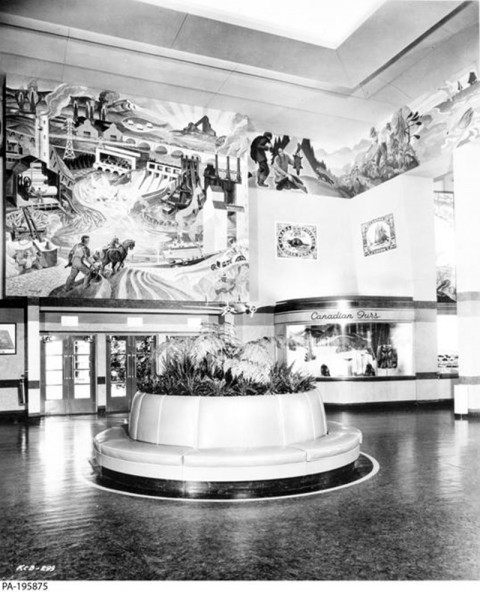 Murals by Edwin Holgate and Albert Cloutier in the Canadian Pavillion at the 1939 World's Fair.