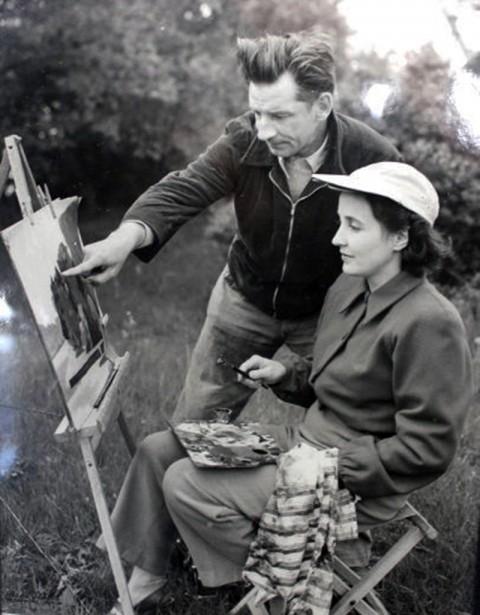 Oscar Schlienger and student 1950s