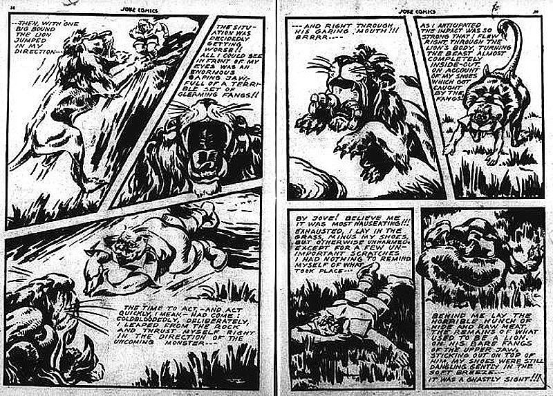 Diving through the lion scene in Joke Comics No.  4