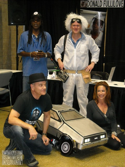 "Clockwise from top left: Donald Fullilove, ""Dr. Emmett Brown"", Claudia Wells, DeLorean Transformer and Robert Picardo"