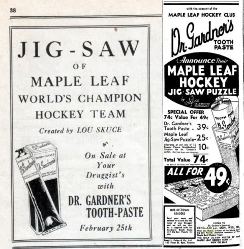 Ads for Dr. Gardner's toothpaste from 1932 that features the Maple Leaf's jigsaw.