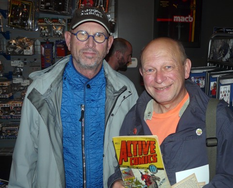 Patrick Loubert and Ivan Kocmarek with Patricks copy of Active Comics No. 1