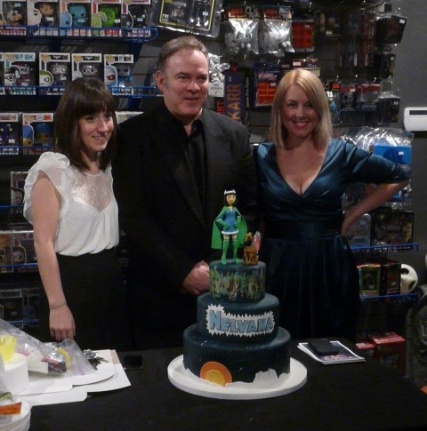 Rachel, Stephen, Hope, and cake.