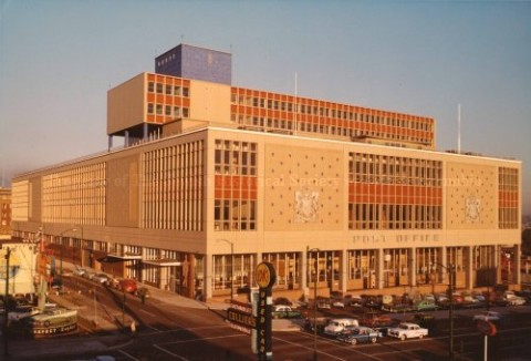 Vancouver Main Post Office Building in 1957 with the left face being Homer St.
