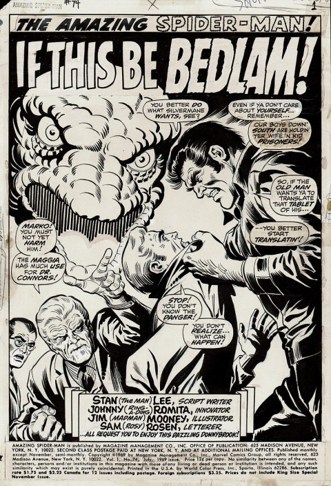 Amazing Spider-Man issue 74 splash by John Romita and Jim Mooney