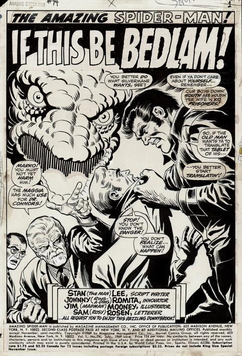 Amazing Spider-Man issue 74 splash by John Romita and Jim Mooney