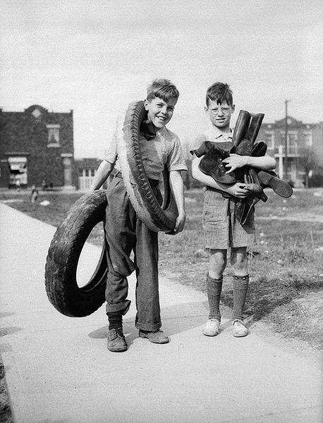 Children collecting rubber for recycling in Montreal, 1942