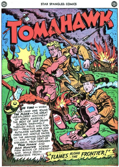 The first Tomahawk splash from Star Spangled Comics 69 drawn by Good