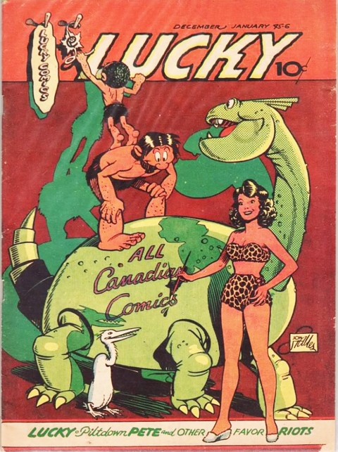 Yot in the foreground on the cover of the Dec. 1944-Jan. 1945 issue of Lucky Comics