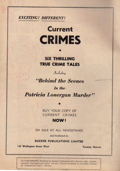 Inside front cover of UN Battle Heroes advertising Current Crimes