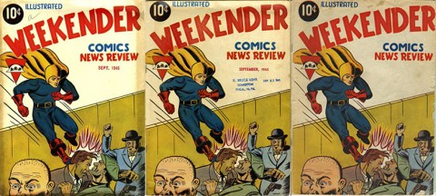 Three variants of Weekender Vol. 1 No. 3 (notice the US address stamped on the middle one)
