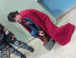 Superman tries to lift Mjolnir