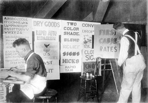 A typical sign painting school from the twenties showing the work of show card writers