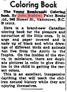 Clipping about a Stables Coloring Book from the Globe and Mail in May 1945