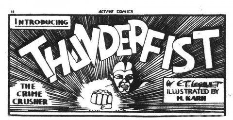 The first Thunderfist banner from Active Comics No. 1