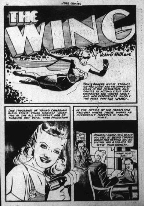 The splash from the second appearance of The Wing in Joke Comics 6