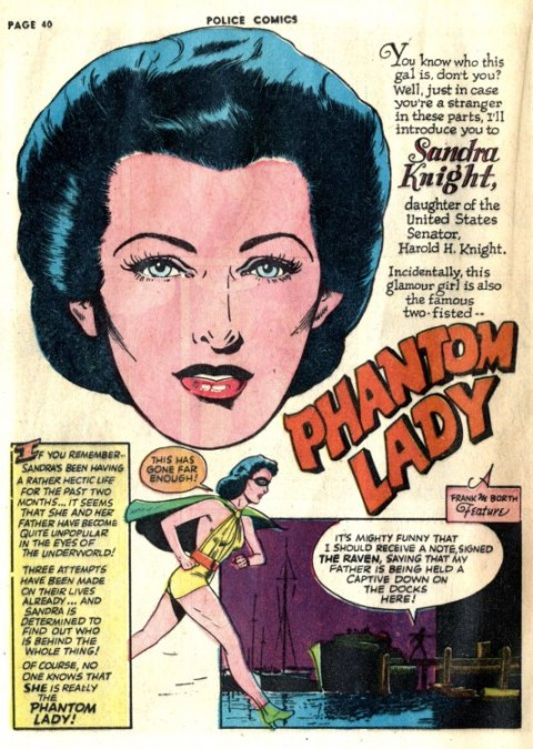 Phantom Lady splash from Police Comics 20