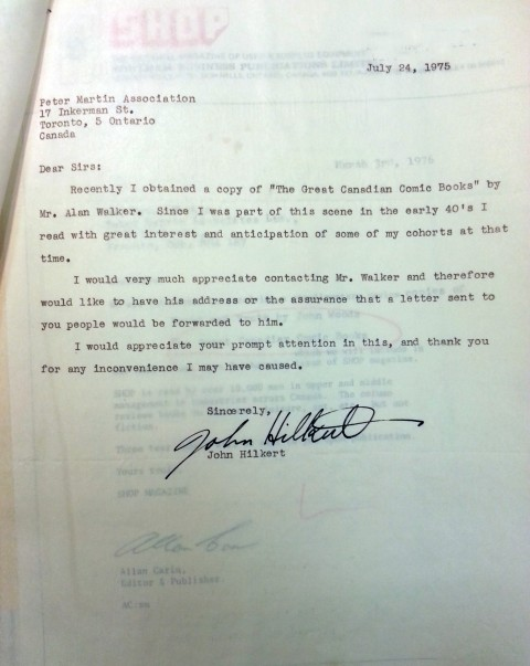 Hilkert's letter to Alan Walker in 1975