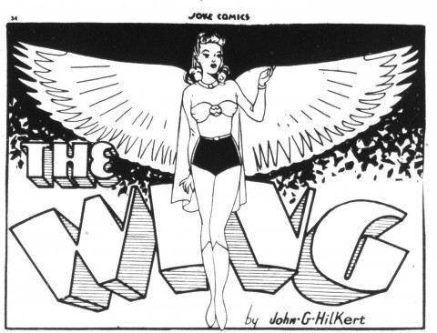 The Wing splash panel from her first appearance in Joke Comics 4